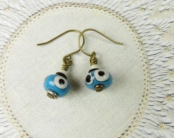 Small blue lampwork earrings