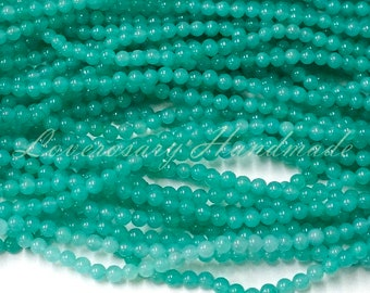 4 MM Green Beads - 15 inches full stand - Round shape
