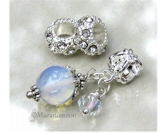 Moonstone Gemstone Dangle Charm AB Swarovski Crystal Moonstone Charm Fit European Bracelet Add A Bead Make Your Own Charm Bracelet #DC1015
