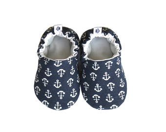 Anchor Baby Booties, Baby Shoes, Cotton Baby, Infant, Newborn, Navy, Blue, White