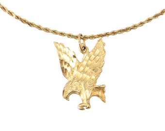 14k eagle pendant etsy 14k gold necklace with flying eagle pendant vintage unisex gold eagle necklace approx aloadofball Choice Image