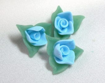 Mini-cabochons blue roses and leaves individually