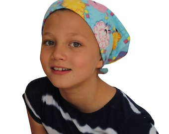 Jaye Children's Flannel Head Cover, Girl's Cancer Hat, Chemo Scarf, Alopecia Head Cover, Head Wrap, Cancer Gift ,Hair Loss - Colorful Sheep