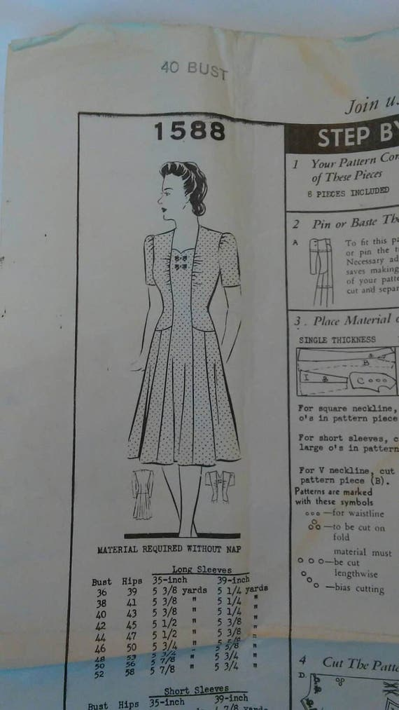 1940s Ww2 Barbara Bell Mail Order Sewing Pattern 1588 Size 40