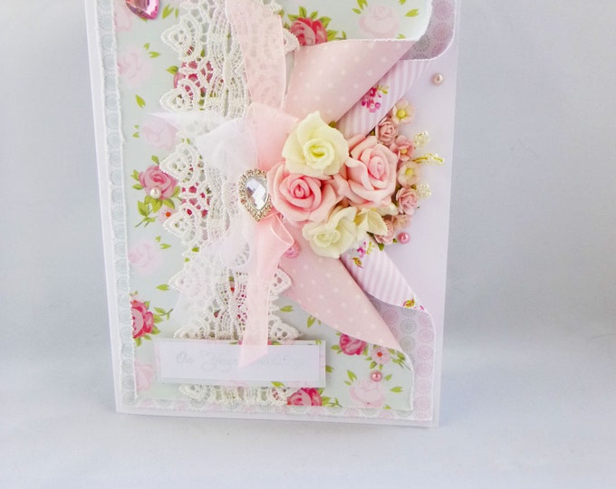 Wedding Day Card, Special Day Card, On Your Wedding, Pink And White Flowers, Shabby Chic Style Card, Decorated Gift Box