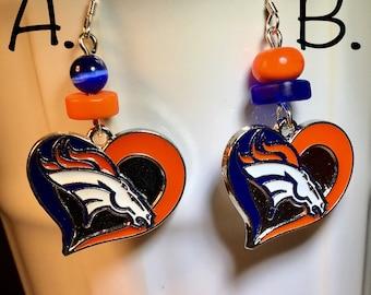 Denver Bronco Charm earrings Gemstone earrings Denver Bronco jewelry Blue Seaglass Orange Turquoise