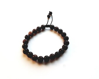 Bohemian Agate Stone Beads and Cord Adjustable Bracelet