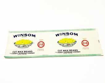 Vintage New Old Stock Unused WINSOM Cut Wax Beans Can Label