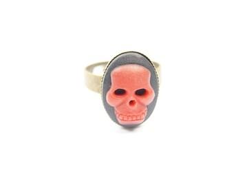 Ring Skull black red