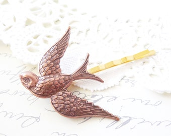 Copper Sparrow Hair Pin - Copper Swallow Bobby Pin - Woodland Collection - Bridal - Flight - Bird - Wedding Hair Accessory