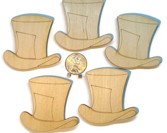 Tophat pins / set of 5 / cosplay / Steampunk / tea party / name tags / wood / engraved / custom / mad hatter / Alice in Wonderland / wooden