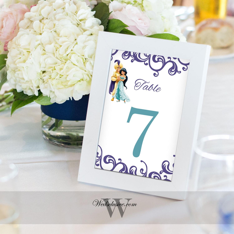 Aladdin and Jasmine Table Numbers Disney Wedding Table Cards