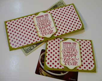 Holiday Cheer Gift Card Holder, Money Holder, fancy money envelopes, hand stamped money envelopes,  lottery ticket holders