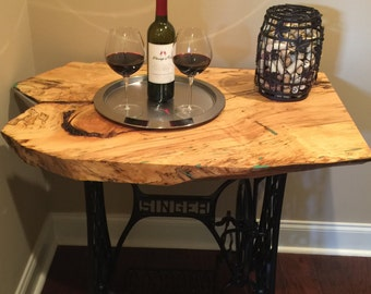 Live Edge Spalted Maple Table W / Antique Singer Treadle Sewing Machine Base