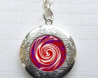 Photo Locket, Red and White Spiral Locket, Spiral Necklace, Abstract Necklace