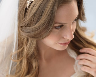 Delicate Gold Wedding Headband, Gold Bridal Headband, Crystal Wedding Headband, Rhinestone Headband, Gold Bridal Headpiece ~TI-3159
