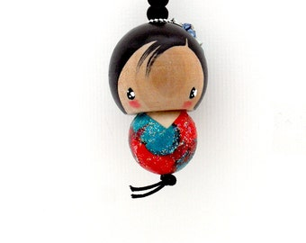 Kokeshi-inspired doll ornament charm - urara