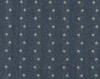 Blue And Beige Mini Flowers Country Style Upholstery Fabric By The Yard | Pattern # C630