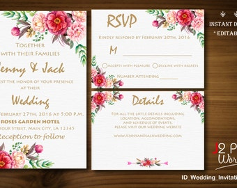 Instant download wedding anniversary invitations printable instant download wedding invitation printable gold floral wedding invitation instant download template invites pack stopboris Image collections