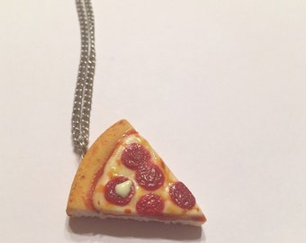 Pepperoni Pizza Pendant, Polymer Clay Food Jewelry