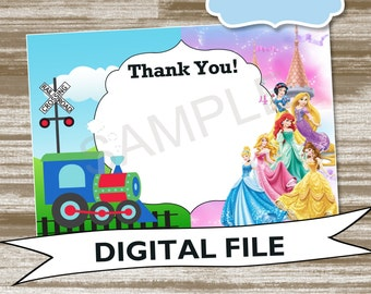 Dual Theme Princess & Train Birthday Coordinating THANK YOU Note--Personalized Digtial File