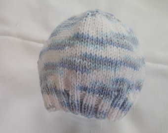 Hand Made Knit Baby Hat Variegated Blues Grey and White Newborn 0-3 Months free shipping *142