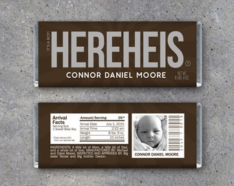 Personalized Birth Announcement Candy Bar Wrappers – Printable Download – HEREHEIS Hershey Bar Wrappers – It's a Boy! Photo Announcement