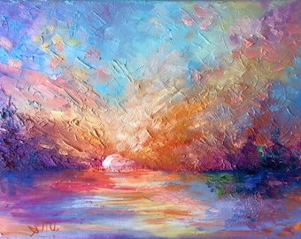 """Abstract Sunset Painting Impressionism Colorful Oil Painting Original Artwork 9""""X12"""""""