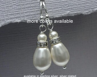 Drop Pearl Earrings, Bridesmaid Earrings, Swarovski Ivory Drop Pearl Earrings, Bridesmaid Gift Earrings, Maid of Honor Gift Earrings