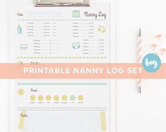 printable nanny log 1 year and older babysitter chart