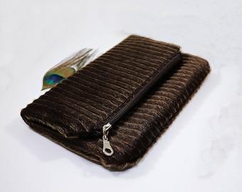 Faux fur clutch bag, Zipper pouch, Fold over clutch, Vegan fur bag, Personalized clutch purse, Bridesmaid gift, Boutique natural clutch