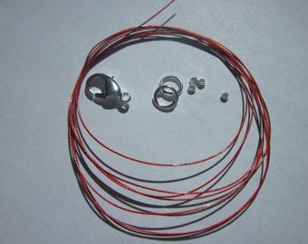 1 meter of cable wire-wrapped, ring, clasp, crimps (K34