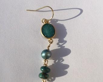 Boho, Teal Druzy, Teal Pearl, Turquoise, Single Earring, Lilyb444, Jewelry, EAD2015