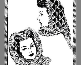 Head cover Vintage Mail Order Women's Triangular Head Cover Crocheting pattern # 107 Copy / Reprint  PDF Delivery