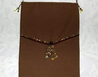 Small bag - Brown shoulder bag decorated with beads