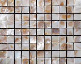 "Mother of Pearl Tile for Kitchen Wall Backsplash Freshwater Shell Mosaic Tiles with Porcelain Base Bathroom Tiles (6 PCS, 11.8""x11.8"" /each)"