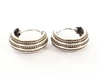Sterling Silver Oxidised Small Hooped Earrings.