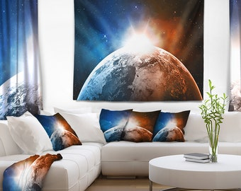 Designart Planet with Sunrise in Space Contemporary Wall Tapestry, Wall Art Fit for Wall Hanging, Dorm, Home Decor