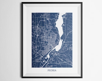 Map of Peoria, Illinois Abstract Street Map Print