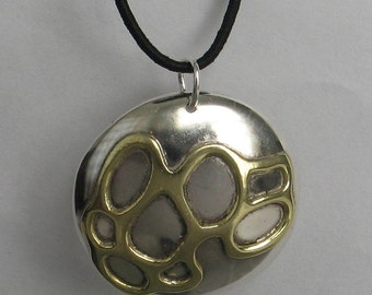 """SALE Rescued Upcycled Vintage Round Sterling Brass   Necklace 1 1/4"""""""