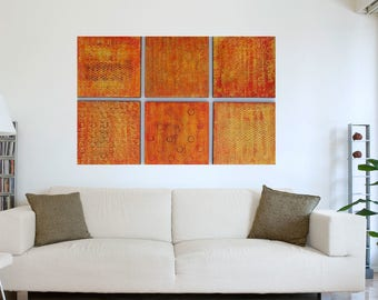 Wood Wall Art - Texture Paintings  Orange Abstract Art Modern Art  Original Painting  Acrylic Painting  Wood Wall Sculpture  Orange Painting