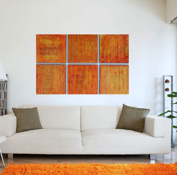 Wood Wall Art Texture Paintings Orange Abstract Art Modern