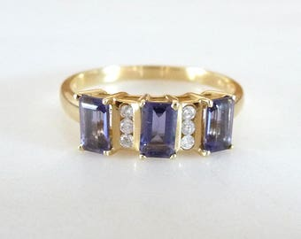 Vintage 14k Iolite and Diamond Ring Yellow Gold Ring Size 7.25 Genuine Three Emerald Cut Iolite and Six Diamonds