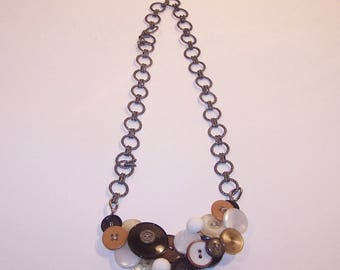 Tan and brown Button Necklace