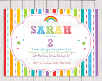 Rainbow Invitation / Rainbow Birthday invitation / Printable DIY Rainbow Party Invitation / Rainbow Invite