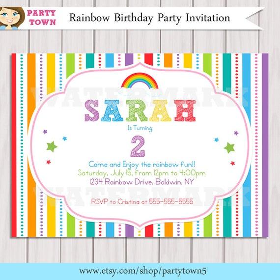 Rainbow Invitation Rainbow Birthday invitation Printable