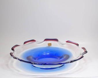 Vintage Signed Bohemian Czech Republic Hand Made Rubin Glass Footed Bowl, Czech Rubin Glass Art Glass Centerpiece Bowl, Czech Bohemian Glass