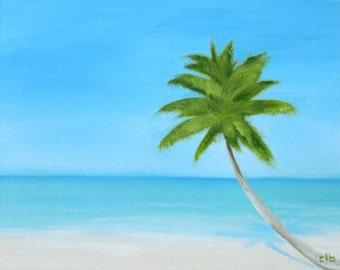 Palm Tree Painting, 14 x 11, Oil Painting, Original Art, Ocean Art, Beach Painting, Landscape Painting, Caribbean Painting, Beach House Art