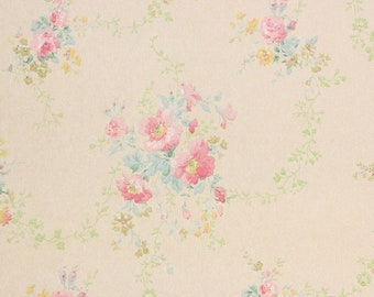 S Antique Vintage Wallpaper Pink Yellow Flower Bouquets Vine By The Yard
