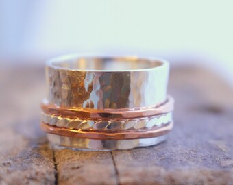 Sterling Silver and Copper spinner ring - Fiddle ring Wide Band Meditation Ring SR101